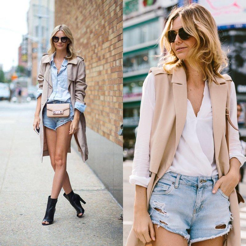 Девушка в джинсовых шортах весной