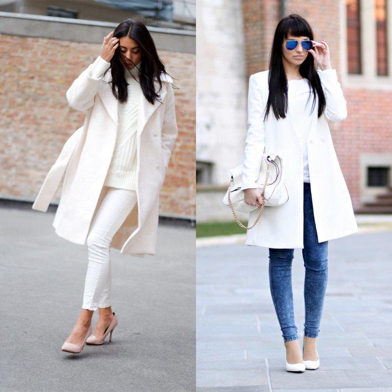 Стильный образ в белом пальто