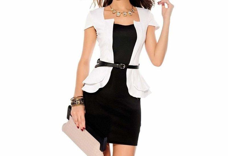 Черное платье с белым жакетом