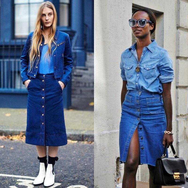 Образы в джинсовых юбках