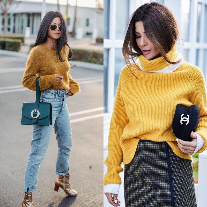 Модный образ на весну в желтом свитере