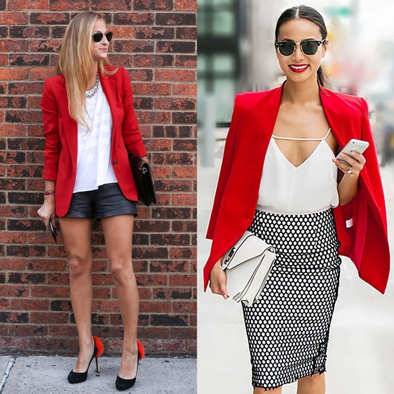 Стильные весенние луки в ярко-красном пиджаке