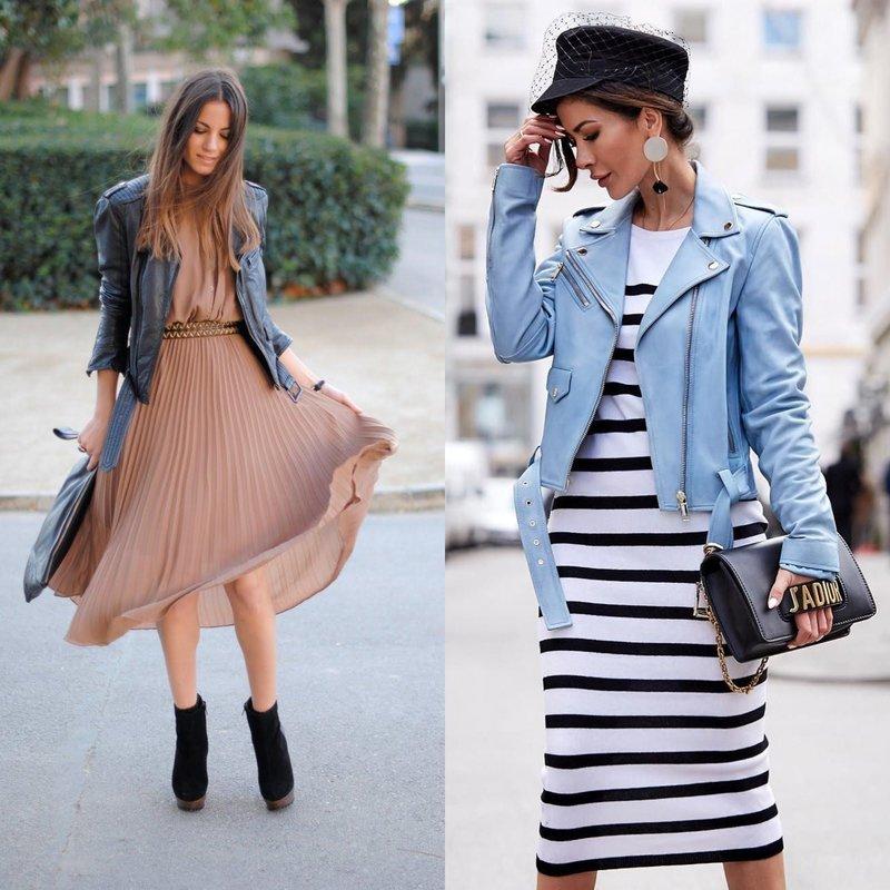 Модные весенние луки в платьях