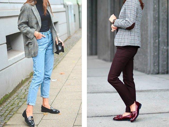 Лоферы с брюками и джинсами