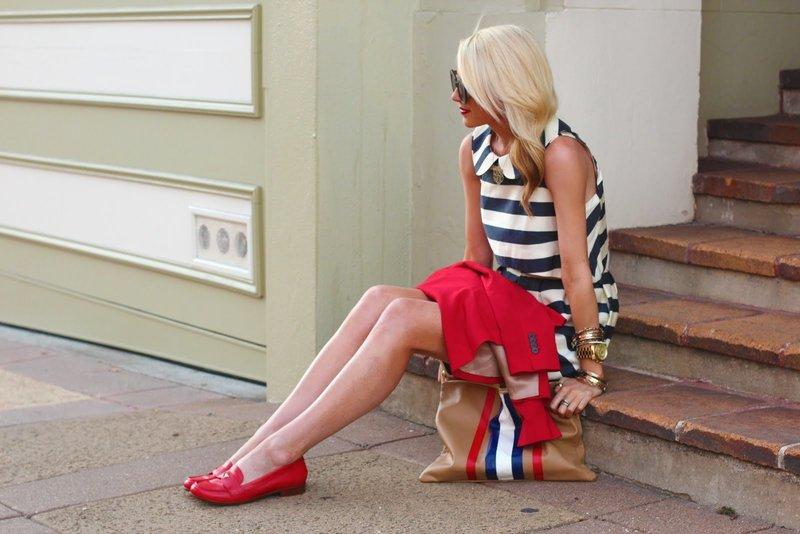 Красные лоферы с платьем