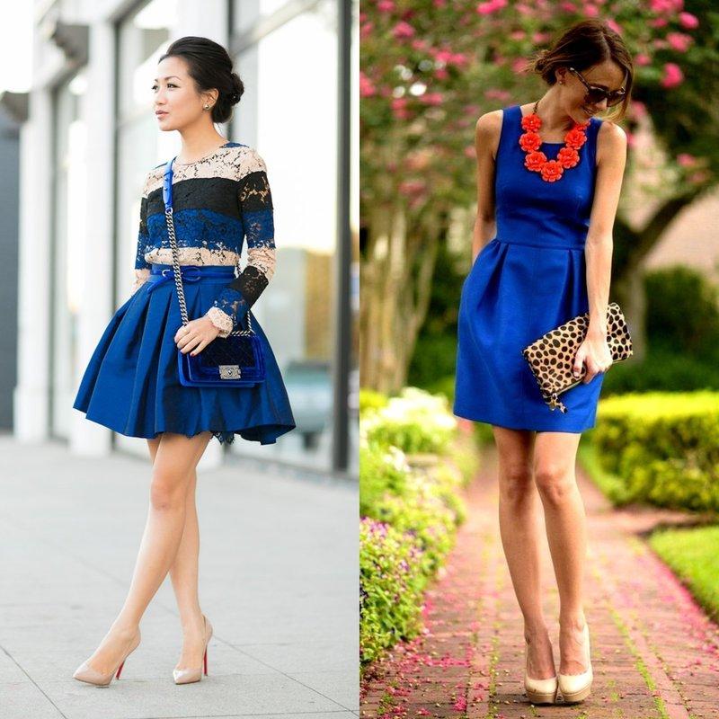 Короткие вечерние наряды синего цвета