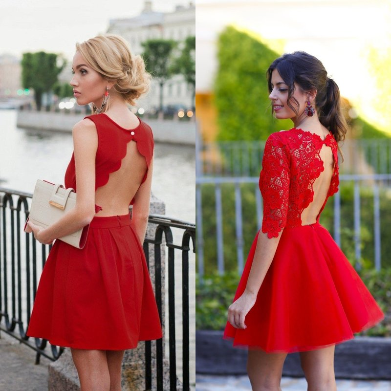 Красное платье с открытой спиной