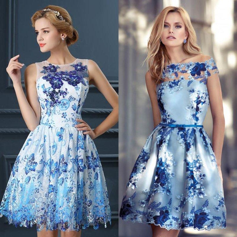 Вечерние платья с синими принтами