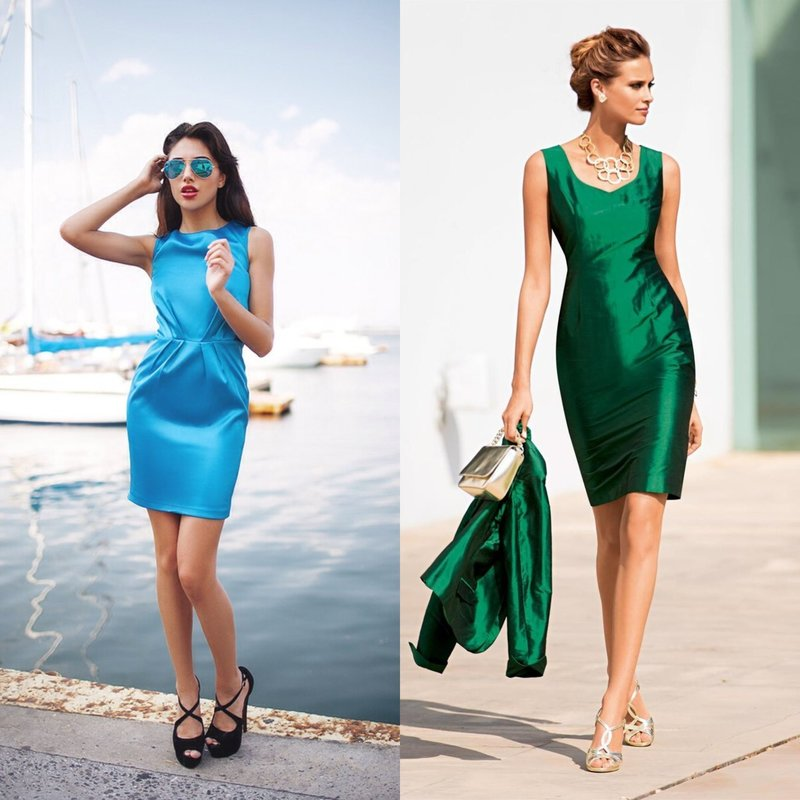 Облегающие атласные платья