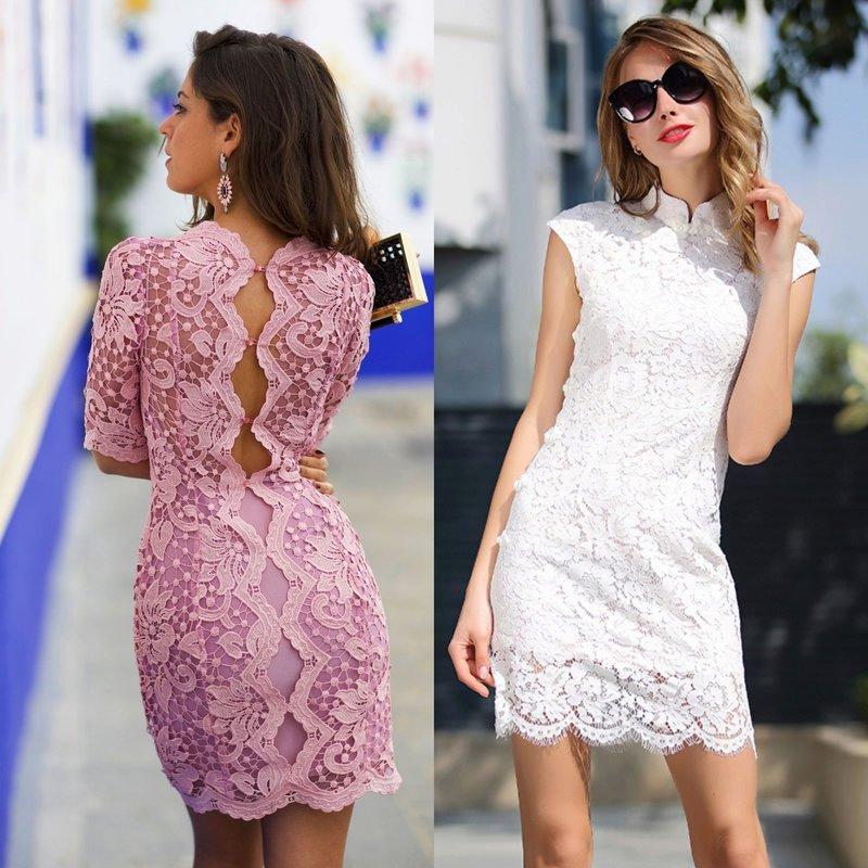 Короткие вечерние платья из гипюра
