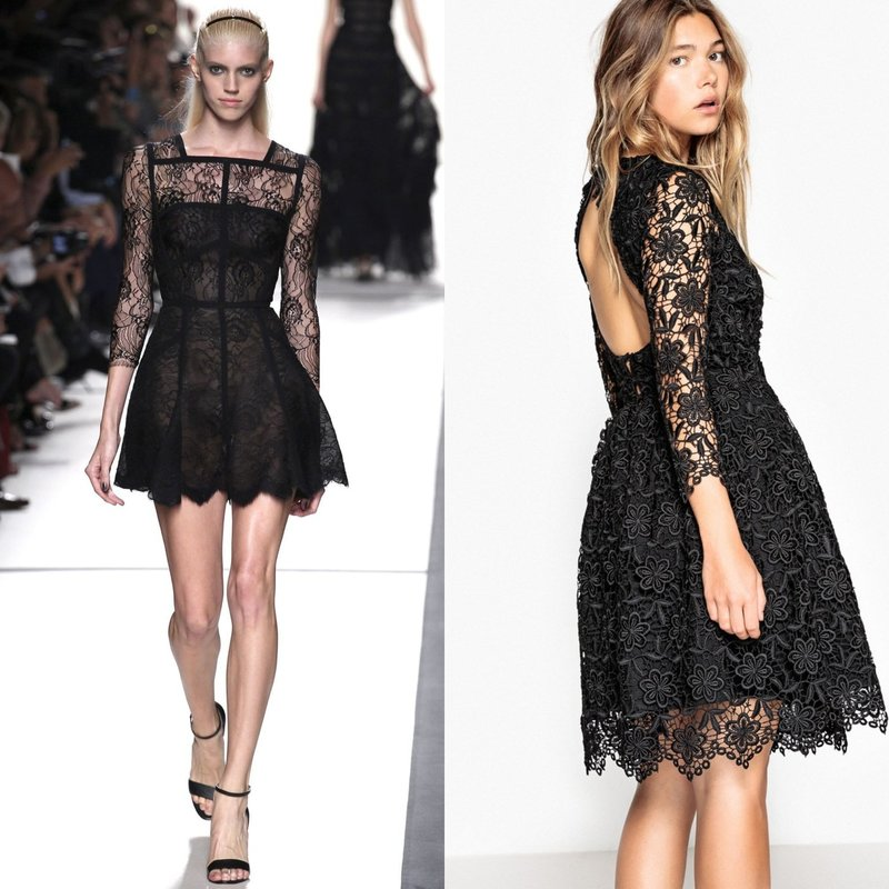 Модные образы в гипюровых платьях