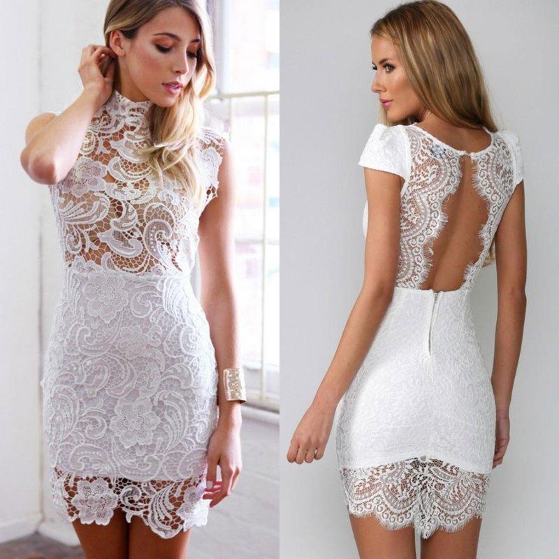 Короткие облегающие платья из кружево