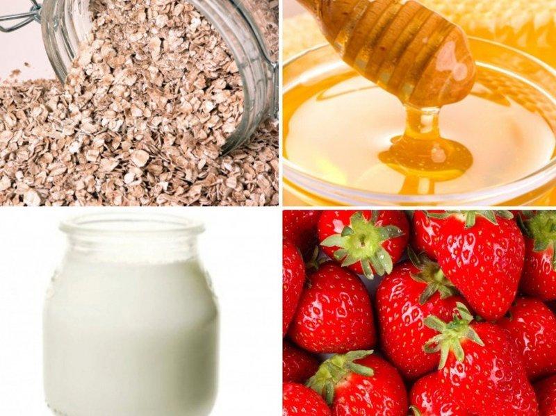 Ингредиенты для приготовления клубничных масок от морщин