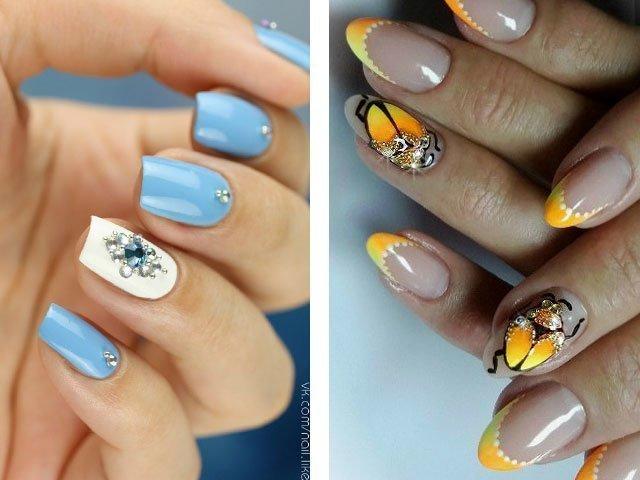 Ногти дизайн с желтым и розовым 20