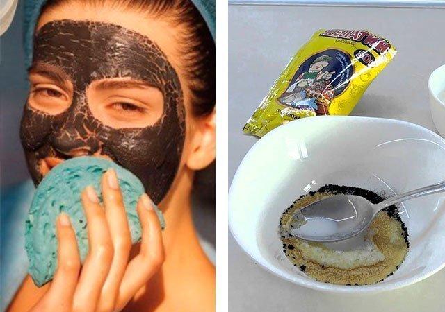 маска из желатина и активированного угля от черных