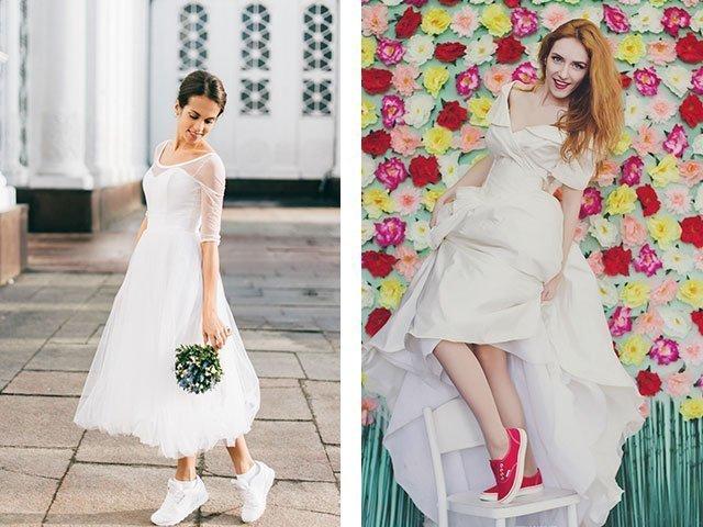 Свадебное платье короткое с кедами