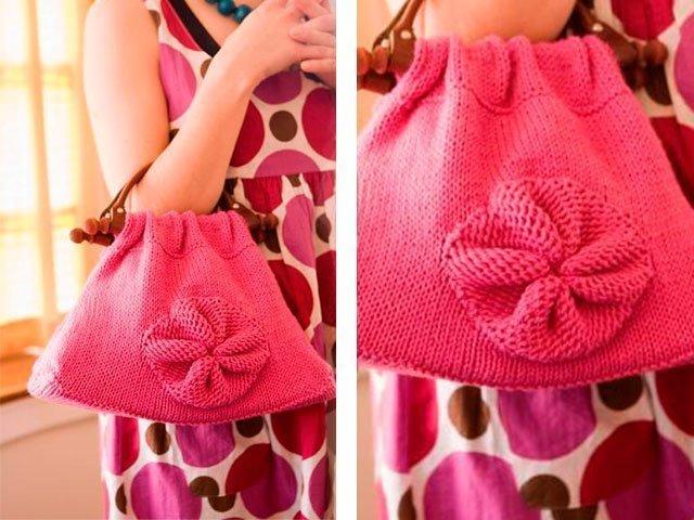 e16740da62fc 2. 2. Кстати, можно связать красивую сумочку для девочки и крючком. Схемы и  подробное описание вязания спицами сумки ...
