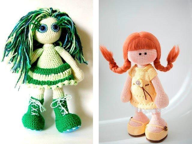 Вязанная зеленая кукла