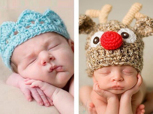 Малыши в шапочках вязанных спицами