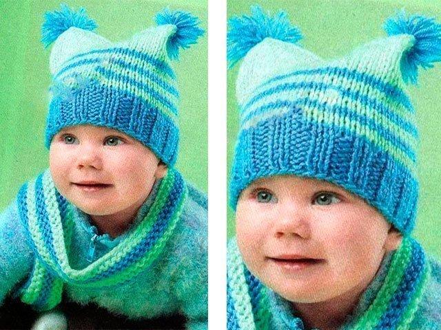 Зимова шапка для новонародженої дівчинки спицями  209d2661432ae