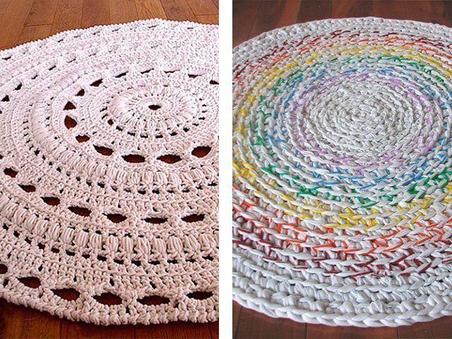 Вязание крючком коврик из тряпок для начинающих 6