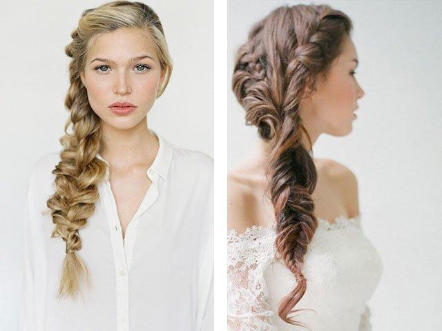 волосы на бок длинные на фото коса прически