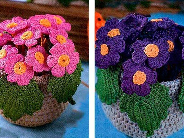 Вязаные цветки с и схемой 17