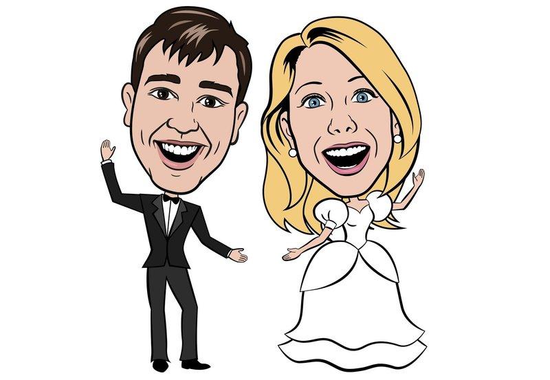 Шарж на жениха и невесту