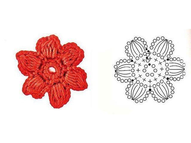 6-29 Объемные цветы крючком схемы с описанием, видео как связать объемный цветок