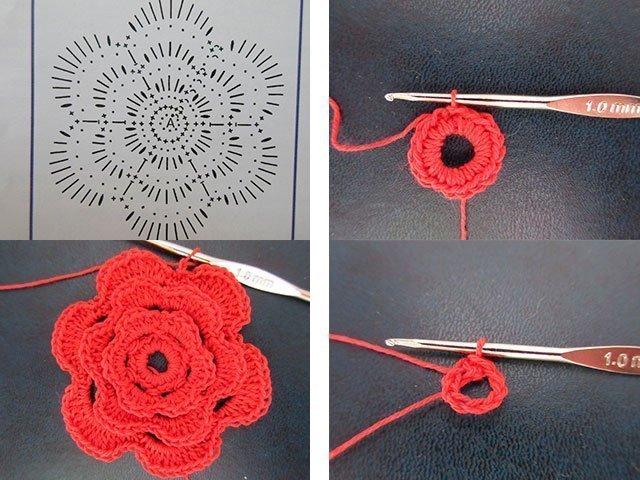 Цветочек крючком на шапочку схема фото 985