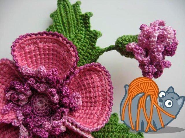 вязаные цветы крючком схемы для начинающих вязание цветов с описанием
