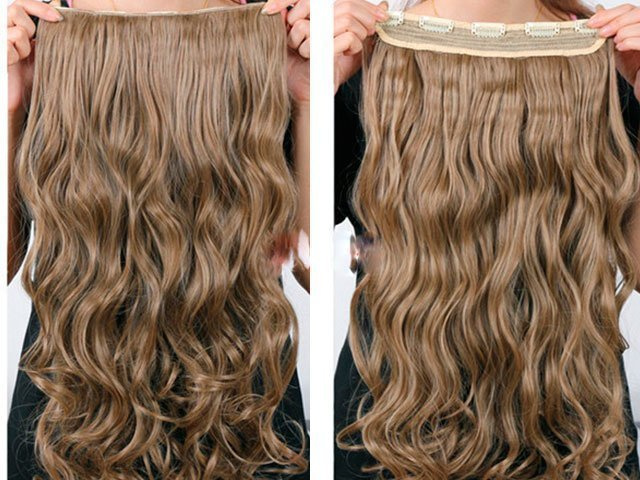хвост из накладных волос на заколках