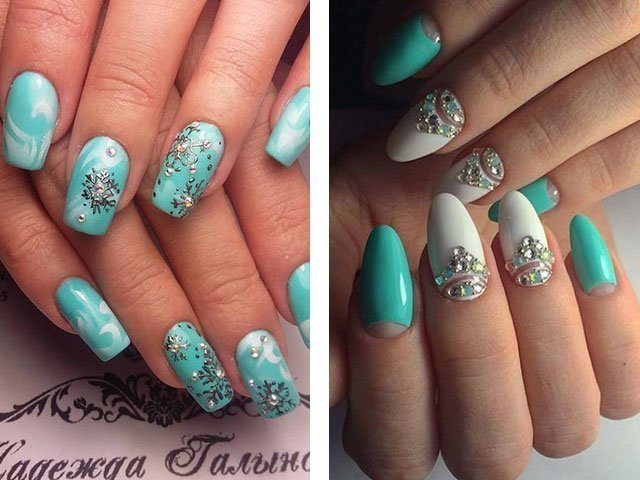 Бирюзовый цвет дизайн ногтей