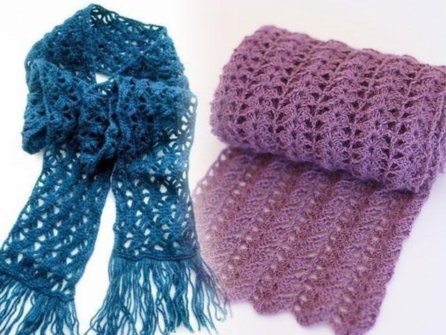вязание крючком шарф для начинающих видео и фото
