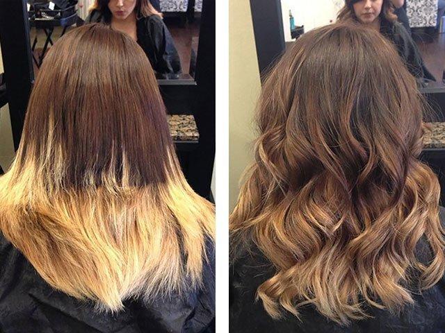 шатуш на темные волосы окрашивание фото до и после