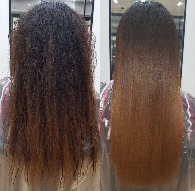 Салонная процедура кератинового восстановления волос