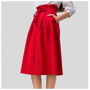 Миди юбка красного цвета