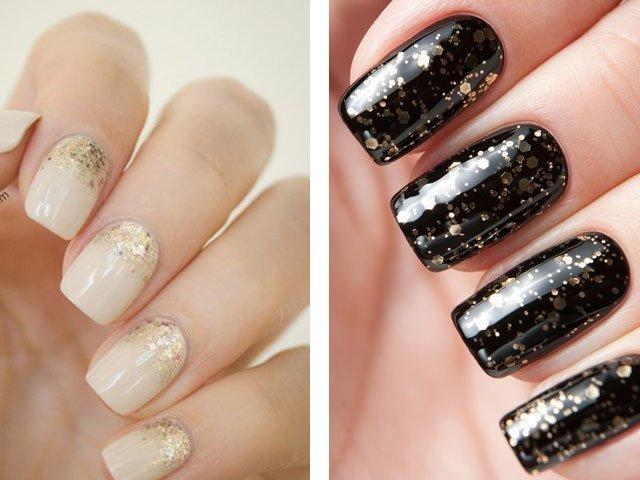 Дизайн с блёстками на ногтях фото