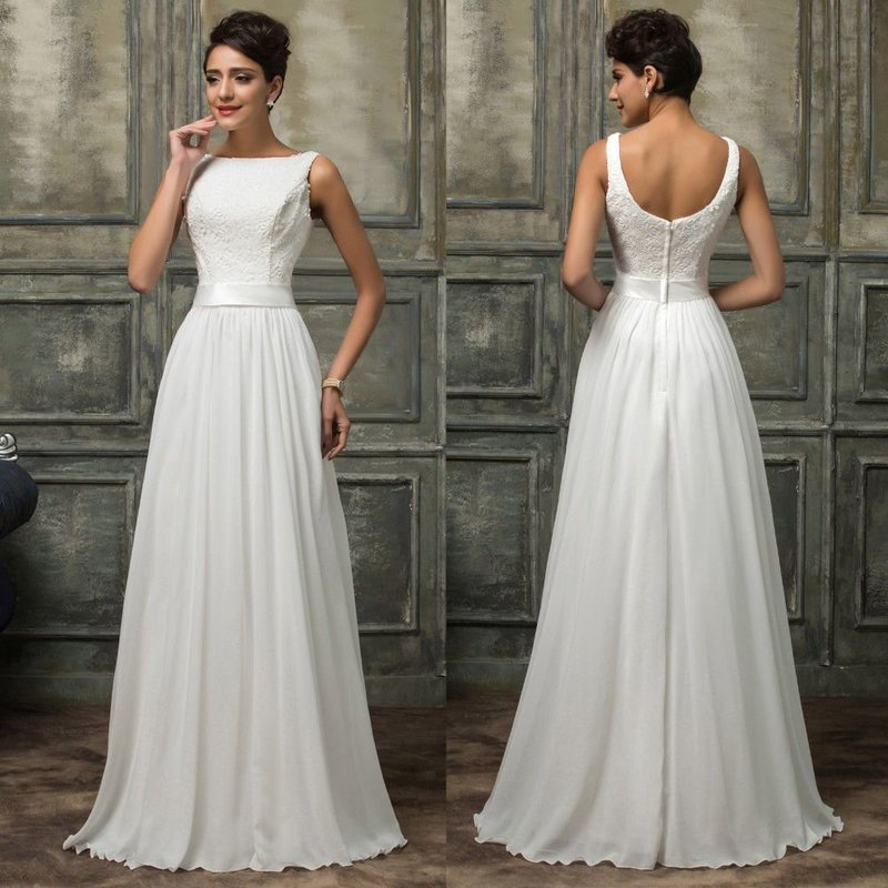 Элегантное белое платье в пол