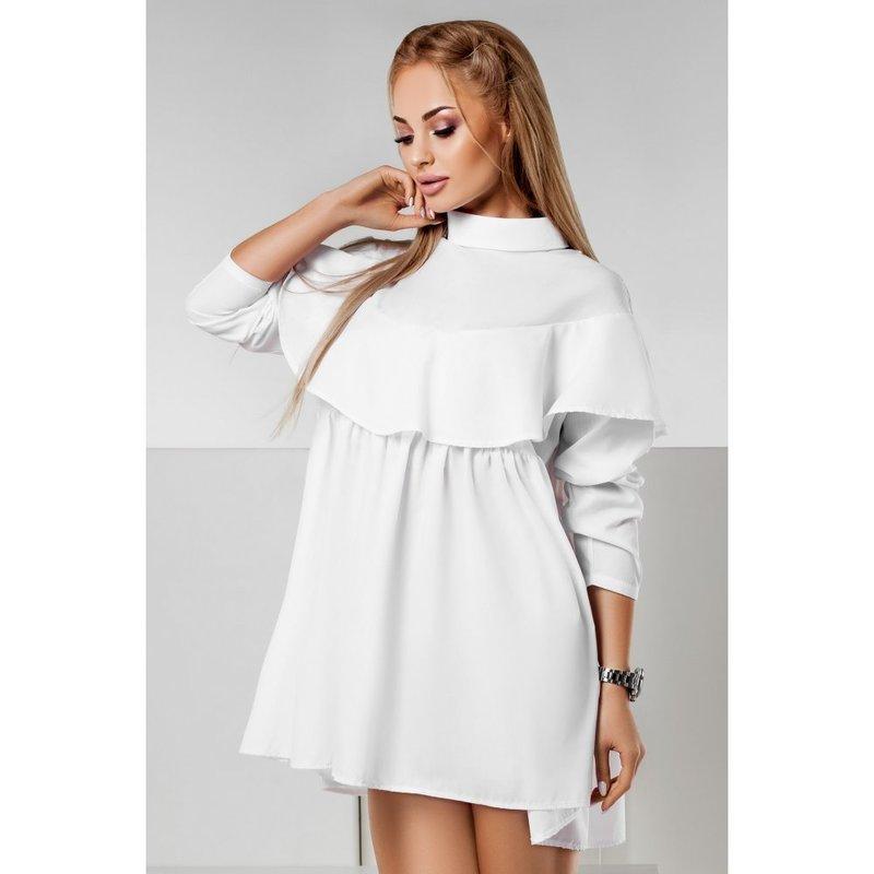 Короткое белое платье с воротником