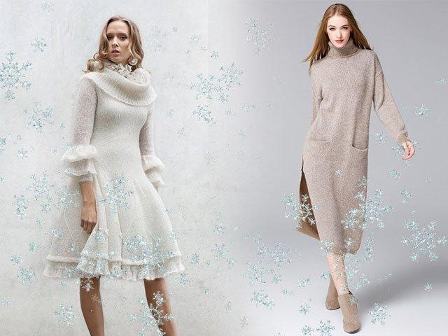 зимние модели платьев спицами и крючком фото