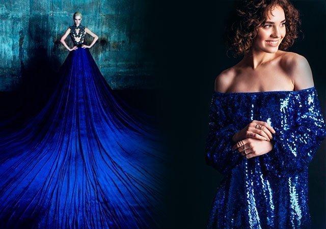 6582e6f37a77a68 1 Платье синее: новинки 2018 года. 1.1 Платье в пол ...