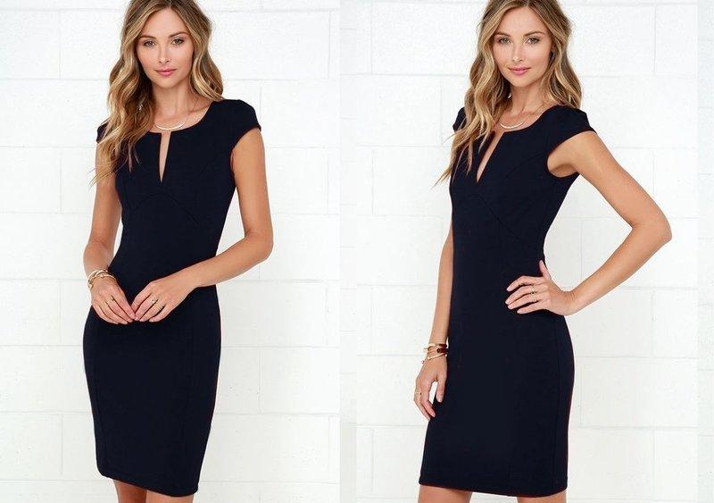 Сдержанный образ с платьем-футляр