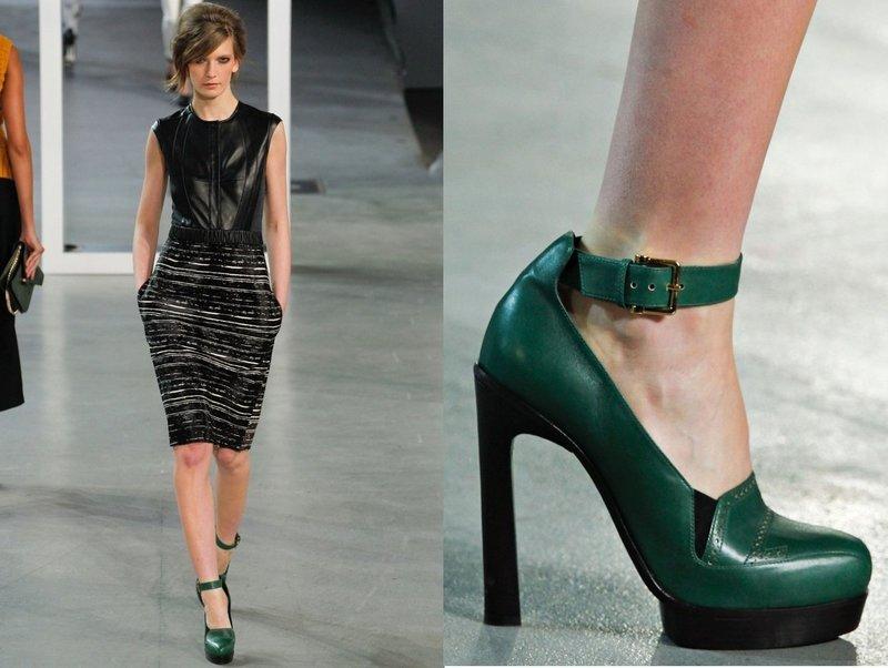 Зеленые туфли с ремешком