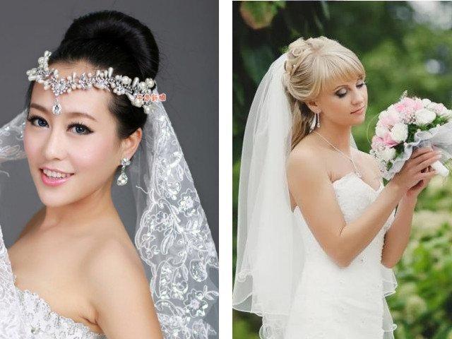 Свадебные прически на длинные волосы с челкой с фатой