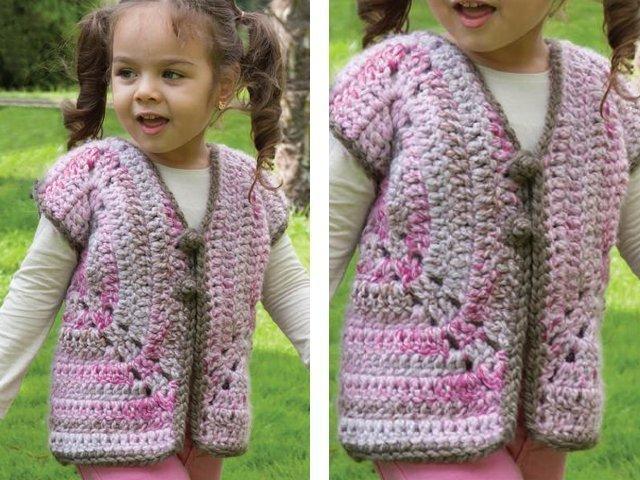 вязание жилетки для девочки до года