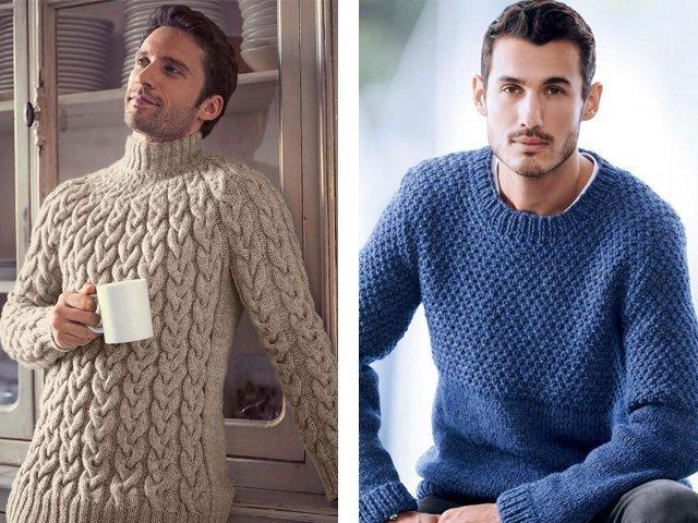 Мужской пуловер джемпер вязание спицами 902