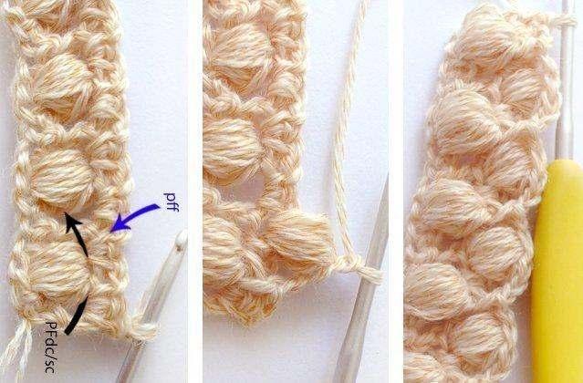 Узор шишечки крючком: схема и описание