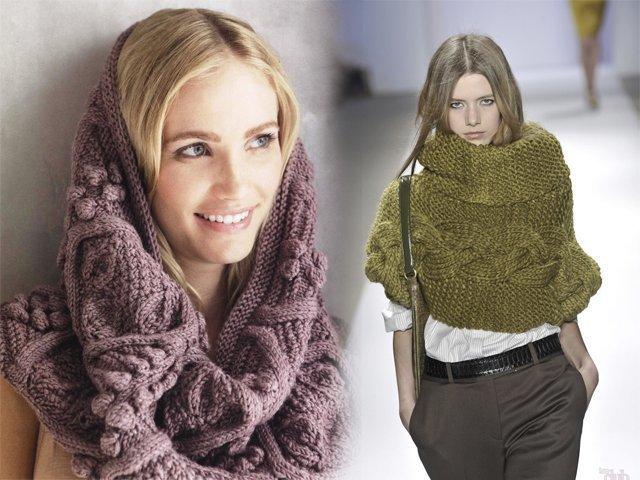 Как связать шарф снуд спицами - для начинающих фото и ...