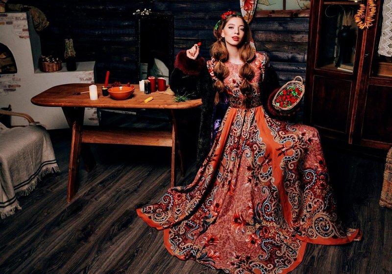 Платье из павлопосадских платков